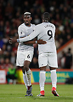 Substituted Paul Pogba of Manchester United walks off and hugs Romelu Lukaku of Manchester United  during the premier league match at the Vitality Stadium, Bournemouth. Picture date 18th April 2018. Picture credit should read: David Klein/Sportimage