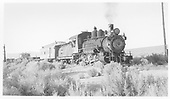 3/4 engineer's-side view of Southern Pacific narrow gauge Ten-Wheeler #8 with a mixed train near Benton.<br /> Southern Pacific  Benton, CA  9/1942