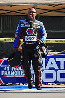 Feb. 10, 2012; Pomona, CA, USA; NHRA top fuel dragster driver Antron Brown during qualifying at the Winternationals at Auto Club Raceway at Pomona. Mandatory Credit: Mark J. Rebilas-