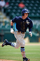 Charlotte Stone Crabs first baseman Brendan McKay (31) runs to first base during a game against the Bradenton Marauders on June 3, 2018 at LECOM Park in Bradenton, Florida.  Charlotte defeated Bradenton 10-1.  (Mike Janes/Four Seam Images)