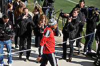 Thierry Henry (14) of the New York Red Bulls enters the field during practice on Media Day at Red Bull Arena in Harrison, NJ, on March 15, 2011.