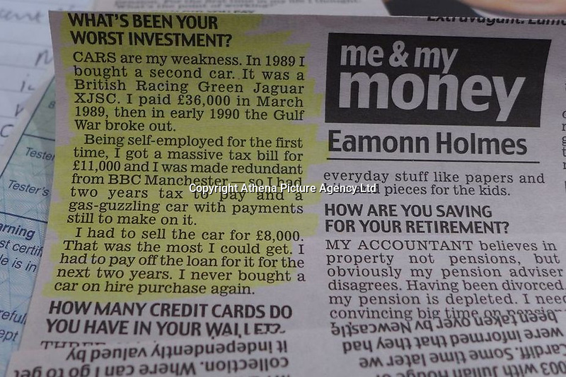 "Pictured: A newspaper cutting about the Jaguar once owned by Eamonn Holmes<br /> Re: A luxury open-top car sold by TV's Eamonn Holmes to pay off his ""massive"" tax bill is up for grabs at auction.<br /> The host of Good Morning Britain bought the 5.3 litre Jaguar when he was earning big bucks with the BBC.<br /> But Eamonn was made redundant and at the same time he was hit with an £11,000 demand from the Inland Revenue.<br /> The car was costing him a fortune to run - it did under 15mpg.<br /> After paying a whopping £36,000 for the Jaguar XJSC, Eamonn flogged it for just £8,000 a year later.<br /> The car has an identical price tag at auction almost 30 years later.    <br /> Eamonn, 57, told how he got shot of the Jag when the 1990 Gulf War sparked a big hike in fuel prices.<br /> He said: ""Cars are my weakness - in 1989 I bought a British Racing Green Jaguar.<br /> ""I paid £36,000 in March 1989 then in early 1990 the Gulf War broke out."