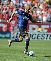Manchester United midfielder Gabriel Obertan (26) dribbles down the field.  Manchester United defeated the Chicago Fire 3-1 at Soldier Field in Chicago, IL on July 23, 2011.