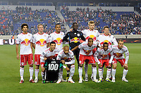 New York Red Bulls  starting eleven. The New York Red Bulls  and the Houston Dynamo played to a 1-1 tie during a Major League Soccer (MLS) match at Red Bull Arena in Harrison, NJ, on April 02, 2011.