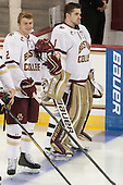 Scott Savage (BC - 2), Brian Billett (BC - 1) - The Boston College Eagles defeated the visiting University of New Brunswick Varsity Reds 6-4 in an exhibition game on Saturday, October 4, 2014, at Kelley Rink in Conte Forum in Chestnut Hill, Massachusetts.