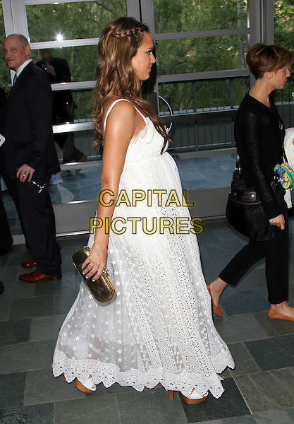 Jessica Alba.Covenant House California 2011 Gala and Awards Dinner Held At The Skirball Cultural Center, Los Angeles, California, USA..June 9th, 2011.full length white lace crochet maxi maternity pregnant gold clutch bag side profile walking braid plait hair.CAP/ADM/KB.©Kevan Brooks/AdMedia/Capital Pictures.
