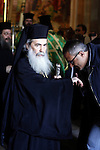 """Patriarch Theophilos III of Jerusalem is the current Patriarch of the Orthodox Church of Jerusalem. He is styled """"Patriarch of the Holy City of Jerusalem and all Palestine, during prayers on Saturday at the Church of the Holy Sepulchre in Jerusalem on Apr. 06, 2013. Photo by Sliman Khader"""
