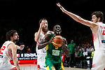 Spain´s Sergio Llull, Pau Gasol and Rodriguez and Senegal´s Dalmeida during FIBA Basketball World Cup Spain 2014 match between Spain and Senegal at `Palacio de los deportes´ stadium in Madrid, Spain. September 06, 2014. (Victor Blanco)