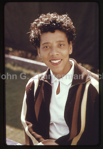 American tennis player Althea Gibson (1927-2003) at the 1956 U.S. National Championships. Forest Hills, New York. Photograph by John G. Zimmerman.