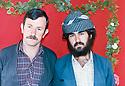 Iraq 1987 .Portrait of a peshmerga with a friend taken  in a studio .Iran 1987 .Portarit d'un peshmerga et un ami pris dans un studio photo