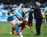 9th February 2020; Stadio San Paolo, Naples, Campania, Italy; Serie A Football, Napoli versus Lecce; Gianluca Lapaula grapples with Dries Mertens of Napoli