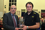 Peter McInerney presents the Peter McInerney Award for English to Darragh Coyle at the School Awards Ceremony in St.Mary's School...(Photo credit should read Jenny Matthews www.newsfile.ie)....This Picture has been sent you under the conditions enclosed by:.Newsfile Ltd..The Studio,.Millmount Abbey,.Drogheda,.Co Meath..Ireland..Tel: +353(0)41-9871240.Fax: +353(0)41-9871260.GSM: +353(0)86-2500958.email: pictures@newsfile.ie.www.newsfile.ie.