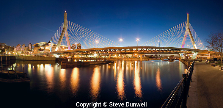 Zakim bridge panorama from Revere Park, Charles River locks, Boston, MA night cable-stayed bridge