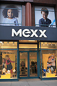 Facade of MEXX clothing boutique along Ste-Catherine street in downtown Montreal, Quebec