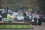 © Joel Goodman - 07973 332324 . No syndication permitted . 11/11/2012 . Lytham Park Crematorium , UK . Two police salute as the cortege enters the crematorium . Hundreds of strangers at the funeral of World War Two veteran Harold Jellicoe Percival today (Monday 11th November 2013) . The funeral is timed to coincide with the First World War armistice , the 95th anniversary of which is at 11am today (Monday 11th November 2013) . The RAF Bomber Command veteran died in his sleep on 25th October 2013 , aged 99 , at Alistre Lodge Nursing Home in St Annes , Lancashire , with no immediate family . Photo credit : Joel Goodman