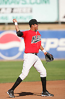 April 18, 2010: Juan Diaz of the High Desert Mavericks during game against the Lake Elsinore Storm at Mavericks Stadium in Adelanto,CA.  Photo by Larry Goren/Four Seam Images