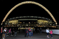 20131018 Copyright onEdition 2013©<br /> Free for editorial use image, please credit: onEdition<br /> <br /> Saracens fans in front of Wembley Stadium before the Heineken Cup match between Saracens and Stade Toulousain at Wembley Stadium on Friday 18th October 2013 (Photo by Rob Munro)<br /> <br /> For press contacts contact: Sam Feasey at brandRapport on M: +44 (0)7717 757114 E: SFeasey@brand-rapport.com<br /> <br /> If you require a higher resolution image or you have any other onEdition photographic enquiries, please contact onEdition on 0845 900 2 900 or email info@onEdition.com<br /> This image is copyright onEdition 2013©.<br /> This image has been supplied by onEdition and must be credited onEdition. The author is asserting his full Moral rights in relation to the publication of this image. Rights for onward transmission of any image or file is not granted or implied. Changing or deleting Copyright information is illegal as specified in the Copyright, Design and Patents Act 1988. If you are in any way unsure of your right to publish this image please contact onEdition on 0845 900 2 900 or email info@onEdition.com