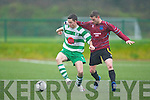 David O'Sullivan Killarney Celtic and Gary Egan Rockmount in action during their cup clash in Killarney on Sunday