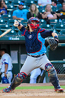 Colorado Springs Sky Sox catcher Tyler Heineman (22) during game two of a Pacific Coast League doubleheader against the Iowa Cubs on August 17, 2017 at Principal Park in Des Moines, Iowa. Iowa defeated Colorado Springs 6-0. (Brad Krause/Krause Sports Photography)