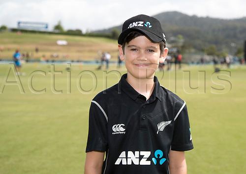20th December, 2017, Whangarei, New Zealand;  ANZ Coin Toss winner James Bailey. New Zealand Black Caps versus West Indies, first One Day International cricket, Cobham Oval, Whangarei, New Zealand. Wednesday, 20 December, 2017.
