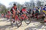 The peloton including Stefan Kung (SUI) BMC Racing Team tackle the famous cobbled climb of Kemmelberg during Gent-Wevelgem in Flanders Fields 2017 running 249km from Denieze to Wevelgem, Flanders, Belgium. 26th March 2017.<br /> Picture: Eoin Clarke | Cyclefile<br /> <br /> <br /> All photos usage must carry mandatory copyright credit (&copy; Cyclefile | Eoin Clarke)