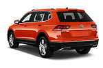 Car pictures of rear three quarter view of a 2018 Volkswagen Tiguan SEL 4Motion 5 Door SUV angular rear