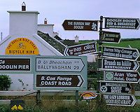 County Clare, Ireland                      Informative road signs at an intersection in the village of Doolin