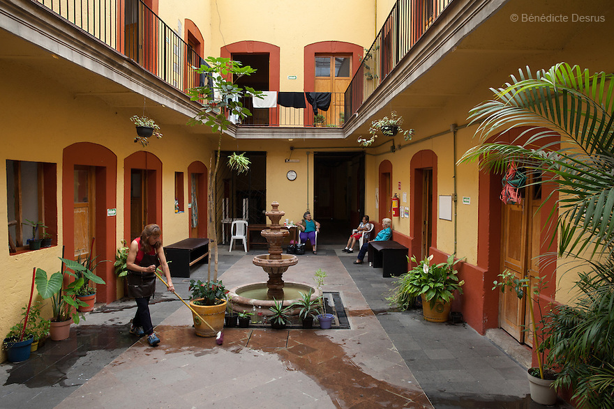Main courtyard at Casa Xochiquetzal in Mexico City, Mexico on July 4, 2013. Casa Xochiquetzal is a shelter for elderly sex workers in Mexico City. It gives the women refuge, food, health services, a space to learn about their human rights and courses to help them rediscover their self-confidence and deal with traumatic aspects of their lives. Casa Xochiquetzal provides a space to age with dignity for a group of vulnerable women who are often invisible to society at large. It is the only such shelter existing in Latin America. Photo by Bénédicte Desrus
