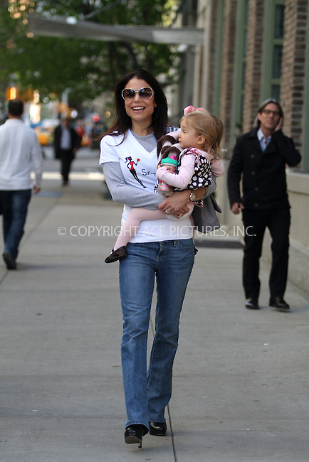 WWW.ACEPIXS.COM . . . . .  ....April 13 2012, New York City....Bethenny Frankel takes baby Bryn for a walk around her Tribeca neighborhood on April 13 2012 in New York City......Please byline: CURTIS MEANS - ACE PICTURES.... *** ***..Ace Pictures, Inc:  ..Philip Vaughan (212) 243-8787 or (646) 769 0430..e-mail: info@acepixs.com..web: http://www.acepixs.com