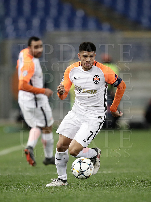 Football Soccer: UEFA Champions League  Round of 16 Second Leg, AS Roma vs FC Shakhtar Donetsk, Stadio Olimpico Rome, Italy, March 13, 2018. <br /> Shakhtar Donetsk's Captain Taison in action during the Uefa Champions League football soccer match between AS Roma and FC Shakhtar Donetsk at Rome's Olympic stadium, March 13, 2018.<br /> UPDATE IMAGES PRESS/Isabella Bonotto