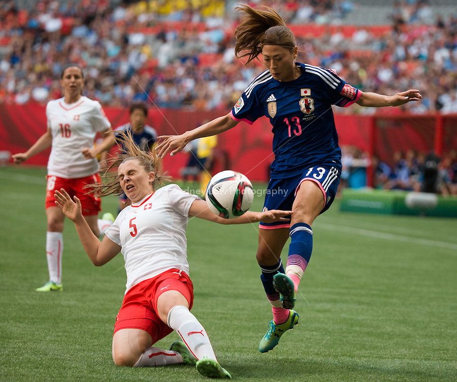 June 8, 2015: Rumi UTSUGI of Japan kicks the ball during a Group C match at the FIFA Women's World Cup Canada 2015 between Japan and Switzerland at BC Place Stadium on 8 June 2015 in Vancouver, Canada. Sydney Low/AsteriskImages
