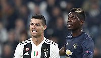 Football Soccer: UEFA Champions League -Group Stage-  Group H - Juventus vs Manchester United, Allianz Stadium. Turin, Italy, November 07, 2018.<br /> Juventus' Cristiano Ronaldo (l) and Manchester United's Paul Pogba (r) during the Uefa Champions League football soccer match between Juventus and Manchester United at Allianz Stadium in Turin, November 07, 2018.<br /> UPDATE IMAGES PRESS