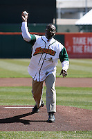 April 14, 2010:  Mayor Byron Brown delivers a ceremonial first pitch before the opening home game vs. Pawtucket at Coca-Cola Field in Buffalo, New York.  The Bisons are the Triple-A International League affiliate of the New York Mets.  Photo By Mike Janes/Four Seam Images