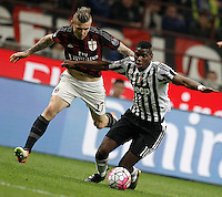 Calcio, Serie A: Milan vs Juventus. Milano, stadio San Siro, 9 aprile 2016. <br /> Juventus&rsquo; Paul Pogba, right, is challenged by AC Milan&rsquo;s Juraj Kucka during the Italian Serie A football match between AC Milan and Juventus at Milan's San Siro stadium, 9 April 2016.<br /> UPDATE IMAGES PRESS/Isabella Bonotto
