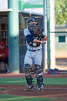 AZL Padres 1 catcher Chandler Seagle (11) during an Arizona League game against the AZL Indians Red on June 23, 2019 at the Cleveland Indians Training Complex in Goodyear, Arizona. AZL Indians Red defeated the AZL Padres 1 3-2. (Zachary Lucy/Four Seam Images)
