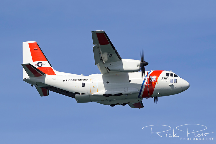 United States Coast Guard HC-27J Spartan Medium Surveillance Aircraft assigned to Air Station Sacramento in flight.