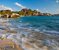 Virgin Gorda, British Virgin Islands, Caribbean <br /> Surf on the beach at Spring Bay, Spring Bay National Park
