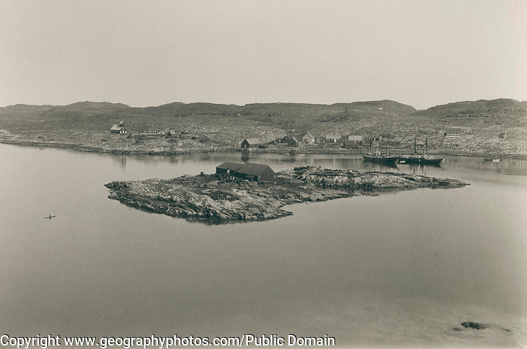 Settlement of Aasiaat Egedesminde, Greenland in the late 19th century, circa 1889,