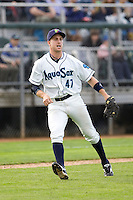 Everett AquaSox third baseman Patrick Kivlehan #47 makes a throw to first base during a game against the Spokane Indians at Everett Memorial Stadium on June 20, 2012 in Everett, WA.  Everett defeated Spokane 9-8 in 13 innings.  (Ronnie Allen/Four Seam Images)