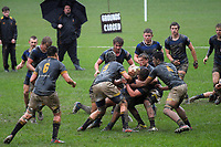 Action from the traditional secondary schools rugby match between Wellington College and Christchurch Boys' High School at Wellington College in Wellington, New Zealand on Tuesday, 12 June 2018. Photo: Dave Lintott / lintottphoto.co.nz