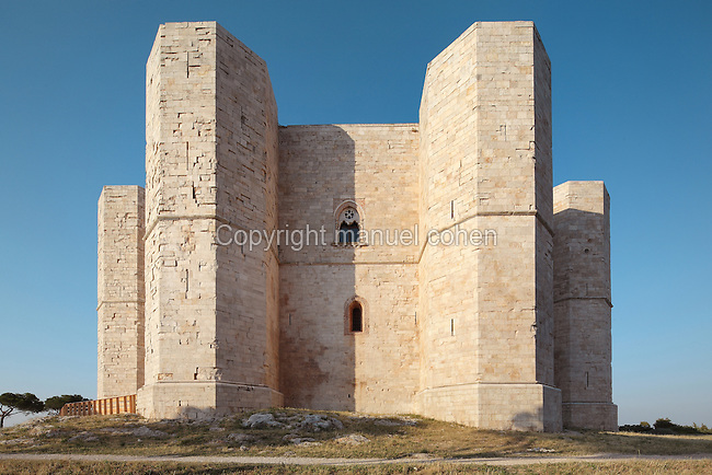 Castel del Monte, a 13th century citadel and castle in Andria, Puglia, Southern Italy. The castle was built in the 1240s by Emperor Frederick II and is octagonal in plan, with walls 25m high and bastion towers on each corner. It is listed as a UNESCO World Heritage Site. Picture by Manuel Cohen