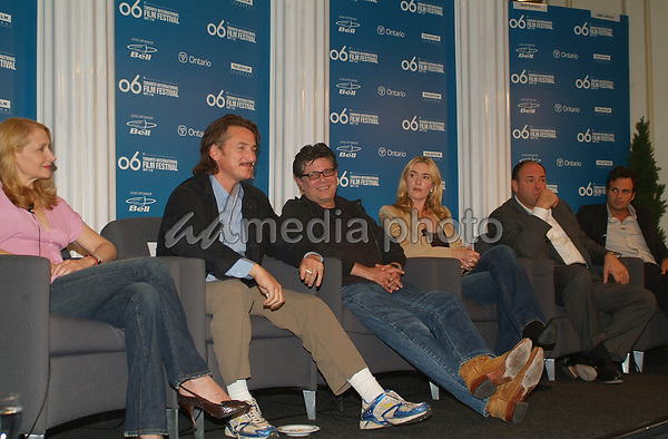 "10 September 2006 - Toronto, Ontario, Canada - Patricia Clarkson, Sean Penn, Steven Zaillian, Kate Winslet, James Gandolfini and Mark Ruffalo. ""All The Kings Men"" Press Conference during the 2006 Toronto International Film Festival held at Sutton Place Hotel. Photo Credit: Brent Perniac/AdMedia"