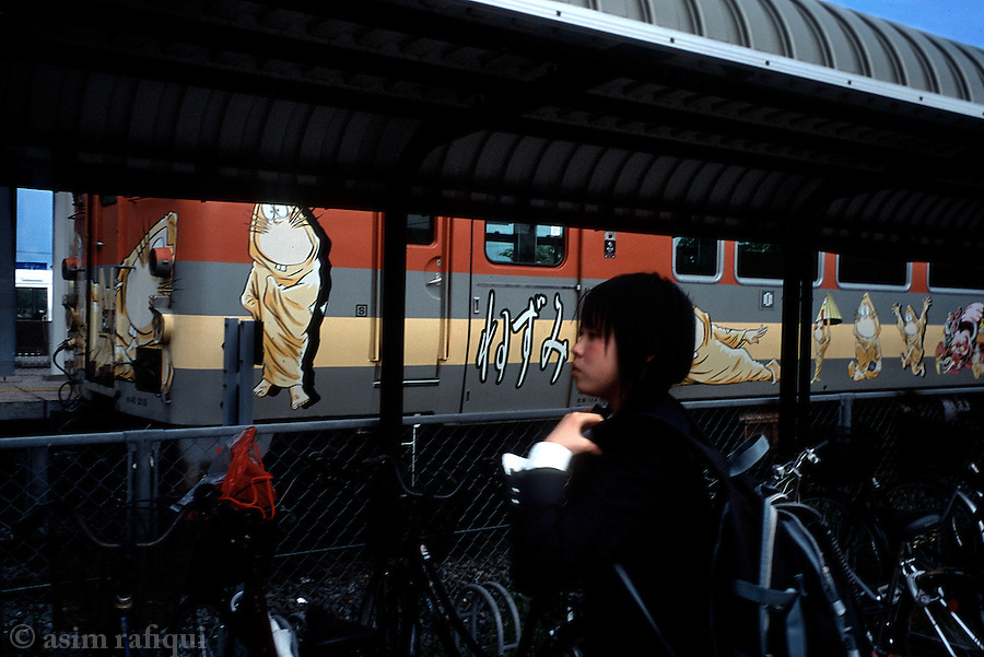 Images of Mizuki's popular Kitaro characters decorate a local commuter train.  The train is just one of many forms of homage to the town's local son and world famous manga artist Mizuki Shigeru.