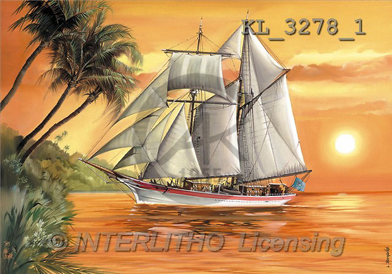 Interlitho, Luis, LANDSCAPES, paintings, sailing ship, sunset(KL3278/1,#L#) Landschaften, Schiffe, paisajes, barcos, llustrations, pinturas ,puzzles