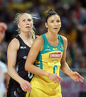 09.10.2016 Silver Ferns Laura Langman and Australia's Kim Ravaillion in action during the Silver Ferns v Australia netball test match played at Qudos Bank Arena in Sydney. Mandatory Photo Credit ©Michael Bradley.