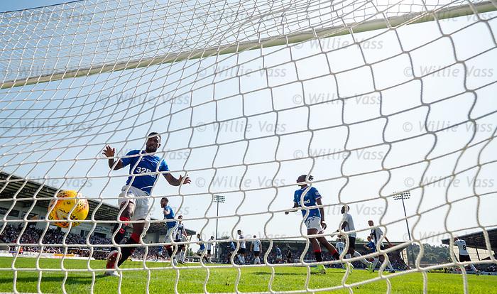 25.08.2019 St Mirren v Rangers: Jermain Defoe blasts the ball bback into the net after Borna Barisic's goal