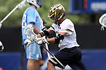DURHAM, NC - APRIL 30: Notre Dame's Brendan Gleason celebrates his goal. The University of North Carolina Tar Heels played the University of Notre Dame Fighting Irish on April 30, 2017, at Koskinen Stadium in Durham, NC in a 2017 ACC Men's Lacrosse Tournament Championship match. UNC won the game 14-10.