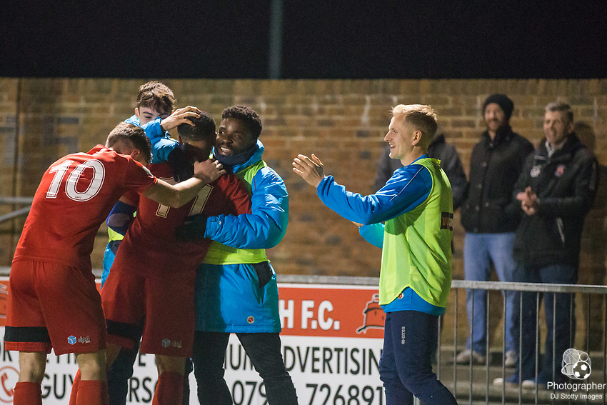 Gavin McCallum (Eastbourne) being congratulated by his team mates following this goal to give Borough the lead 3-2 in the 2nd half during Parafix Sussex Senior Cup Quarter Final between Eastbourne Borough FC & Crawley Town FC on Tuesday 09 January 2018 at Priory Lane. Photo by Jane Stokes (DJ Stotty Images)