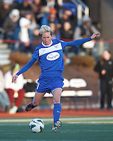 Boston Breakers midfielder Joanna Lohman (11) passes the ball.  In a National Women's Soccer League Elite (NWSL) match, the Boston Breakers (blue) tied the Washington Spirit (white), 1-1, at Dilboy Stadium on April 14, 2012.