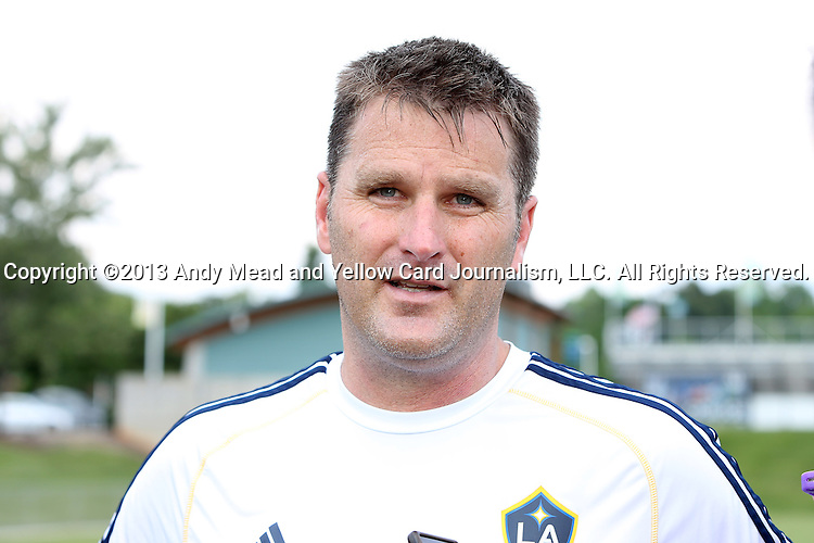 28 May 2013: Assistant Coach Curt Onalfo talks to the media. The Los Angeles Galaxy held a training session on Field 3 at WakeMed Soccer Park in Cary, NC the day before playing in a 2013 Lamar Hunt U.S. Open Cup third round game.